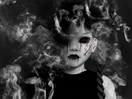 3D rendering of an evil gothic looking, blood covered small girl that is dissolving in smoke like a ghost or demon.