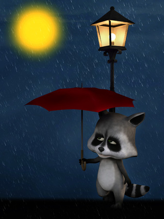 3D rendering of a cute cartoon racoon standing under a streetlamp and holding a red umbrella in the rain. Its night and the moon is shining.