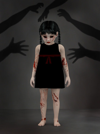 3D rendering of an evil gothic looking, blood covered small girl standing with shadows of hands reaching for her, like she is haunted by monsters.