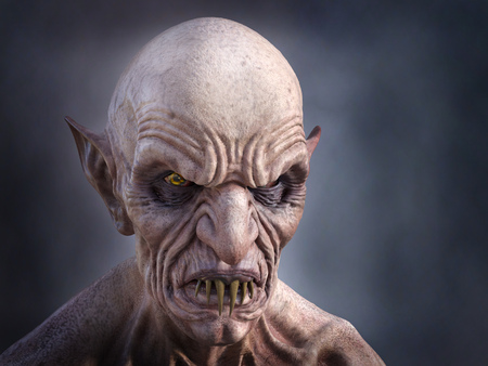 3D rendering portrait of a an old, evil looking male vampire with fangs.