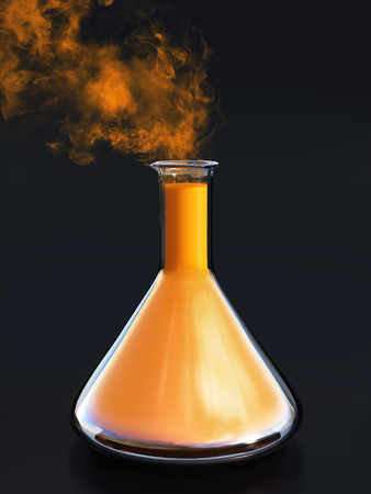 3D rendering of a science experiment with a beaker filled with an orange liquid and with smoke coming out from it. Black background. Stock Photo