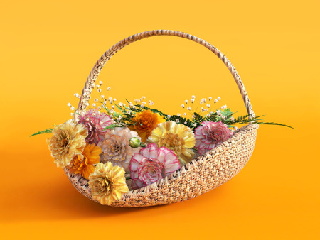 3D rendering of a basket with carnations on an orange colored background. Stock Photo