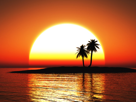 3D rendering of a beautiful warm tropical sunset with palm trees in silhouette. Stock Photo