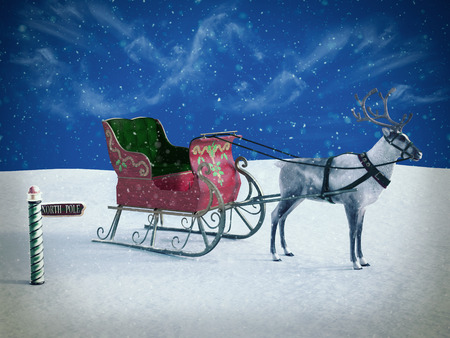 3D rendering of a north pole sign and a reindeer pulling a sleigh waiting for Santa to come. Its snowing.