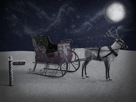 3D rendering of a north pole sign and a reindeer pulling a sleigh waiting for Santa to come at night. Its snowing and the moon is shining.