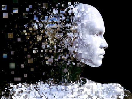 Representación 3D de la cabeza de un robot masculino. La cabeza se está partiendo en píxeles o ventanas. Fondo negro.