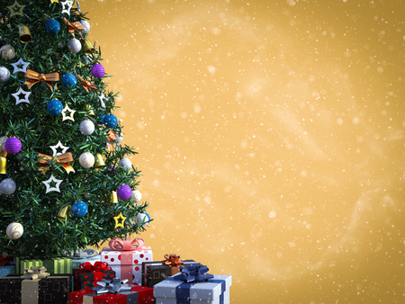 3D rendering of a decorated Christmas tree with lots of presents under it with space to write a greeting. Golden colored background and snow in the air.