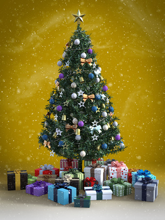 3D rendering of a decorated Christmas tree with lots of presents under it. Nostalgic colored background with a vintage feel and snow in the air. Stock Photo
