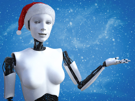 3D rendering of a female robot wearing a Santa hat in celebration of Christmas. Blue colored background with snow in the air. Stock Photo