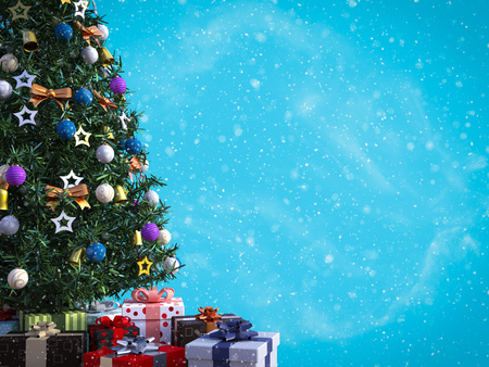 3D rendering of a decorated Christmas tree with lots of presents under it with space to write a greeting. Blue colored background and snow in the air. Stock Photo