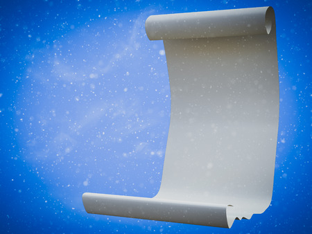 3D rendering of a Christmas wish list or magical fairytale scroll surrounded by snow.