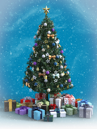 3D rendering of a decorated Christmas tree with lots of presents under it. Blue colored background and snow in the air.