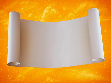 3D rendering of a magical fairytale blank scroll with a sparkling golden background.
