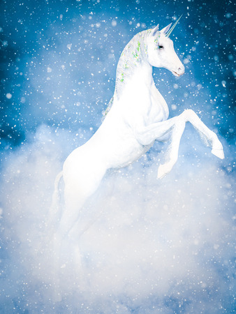3D rendering of a white magical fairy tale fantasy unicorn rearing surrounded by snow and clouds.