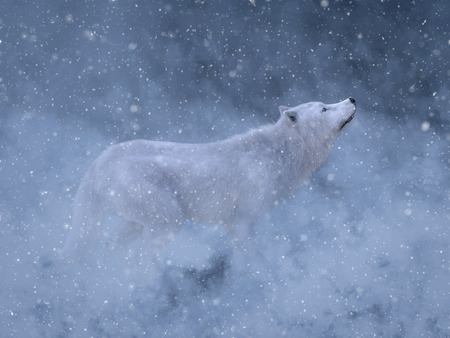 3D rendering of a majestic white wolf surrounded by magical snow. Stock Photo