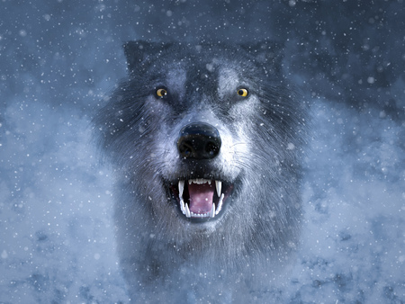 3D rendering of a gray wolf looking ready to attack and growling in the middle of a snow storm. Stock Photo