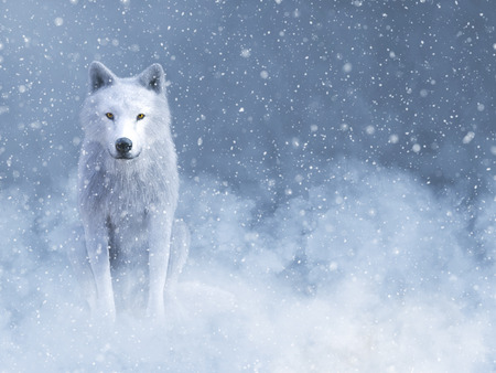 3D rendering of a majestic white wolf sitting down surrounded by magical snow. Фото со стока