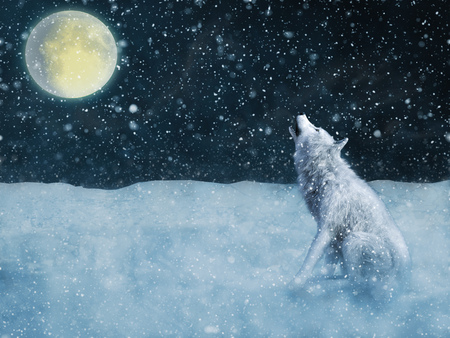 3D rendering of a majestic white wolf sitting down and howling to the moon surrounded by magical snow.