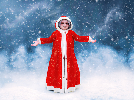 3D rendering of Mrs. Santa Claus standing and holding her arms out surrounded by magical snow.