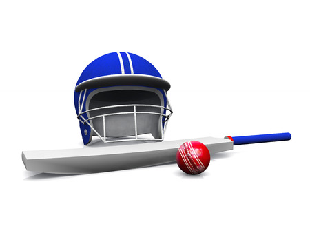 3D rendering of a cricket helmet, bat and ball on white 免版税图像