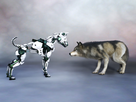 3D rendering of a robotic dog meeting a real wolf or dog. Concept of the future.