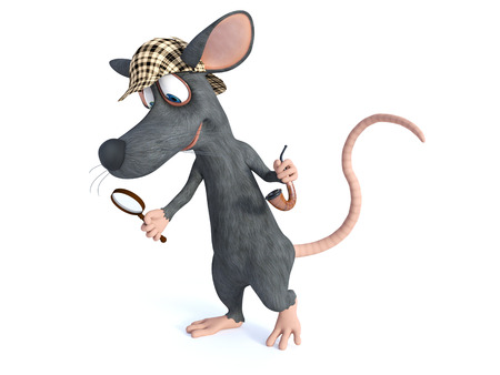 3D rendering of a cute smiling cartoon mouse holding a magnifying glass and pipe