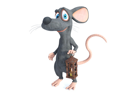 3D rendering of a cute smiling cartoon mouse holding an old lantern with a candle of light.