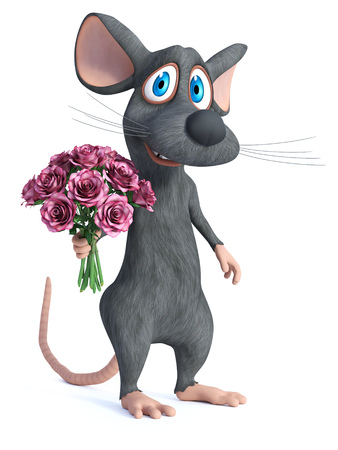 3D rendering of a cute smiling cartoon mouse holding a bouquet of pink roses in his hand. 写真素材 - 118824743