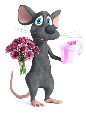 3D rendering of a cute smiling cartoon mouse holding a bouquet of pink roses in one hand and a gift in the other. 写真素材