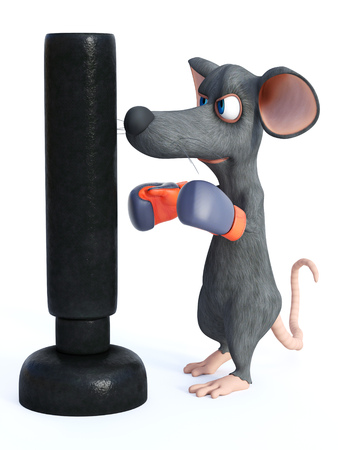 3D rendering of a cute cartoon mouse wearing boxing gloves and punching a heavy bag.