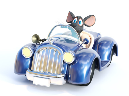 3D rendering of a cute smiling cartoon mouse sitting in a cabriolet car that he is driving.