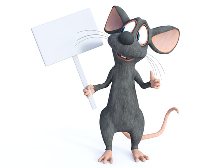 3D rendering of a cute smiling cartoon mouse holding a blank sign.