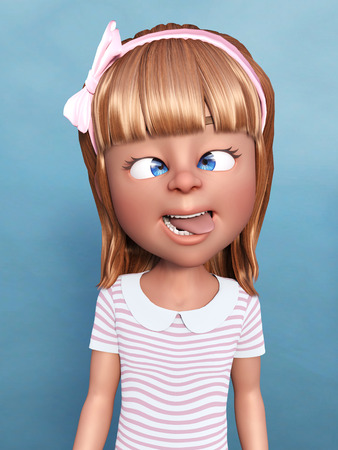3D rendering of a cartoon girl doing a silly face, sticking her tongue out and crossing her eyes. Stock Photo