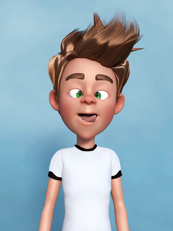 3D rendering of a cartoon boy doing a silly face, sticking his tongue out and grimacing.