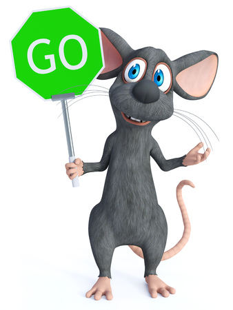 3D rendering of a cute smiling cartoon mouse holding a green go sign. White background. Imagens