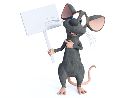 3D rendering of a cute smiling cartoon mouse holding a blank sign. He is looking at the sign and seeming happy, pointing at it. White background. Stock Photo