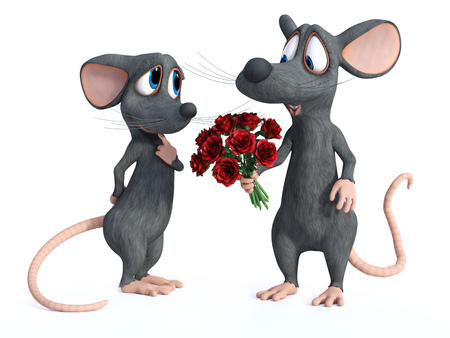 3D rendering of a smiling cartoon mouse holding a bouquet of red roses in his hand. He is ready to give it to his cute date who is looking shy. They are ready for a romantic valentines date. White background. Stock Photo