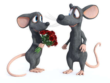3D rendering of a smiling cartoon mouse that has given a bouquet of red roses to his cute date who is looking shy. They are ready for a romantic valentines date. White background. Stock Photo