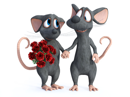 3D rendering of a smiling cartoon mouse holding hands with his cute date who is holding a bouquet of red roses. They are ready for a romantic valentines date. White background.