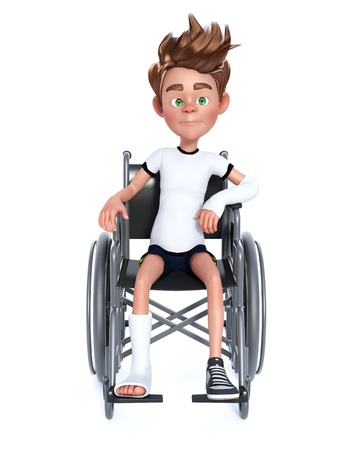 3D rendering of an unhappy cartoon boy with a broken arm and leg sitting in a wheelchair.