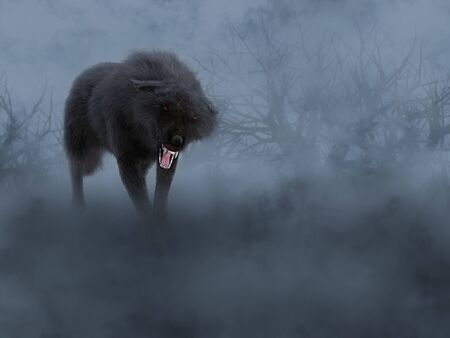 A black growling aggressive wolf with glowing red eyes in a dark mysterious foggy forest.