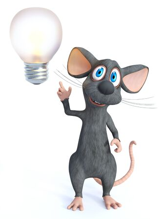 A cute smiling cartoon mouse looking like he is having a bright idea with a big light bulb.