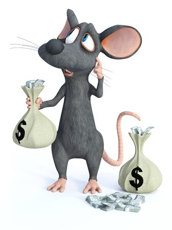 3D rendering of a cute cartoon mouse standing and holding a money bag in his hand while scratching his head thinking about something.