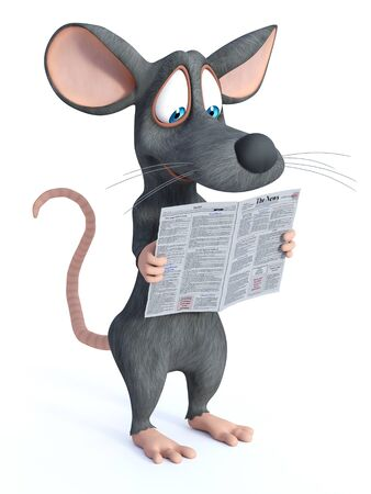 3D rendering of a cute smiling cartoon mouse standing and holding a newspaper in his hand while reading the news.