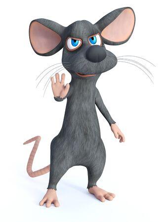 Representación 3D de un ratón de dibujos animados lindo levantando la mano como si estuviera diciendo que pare.