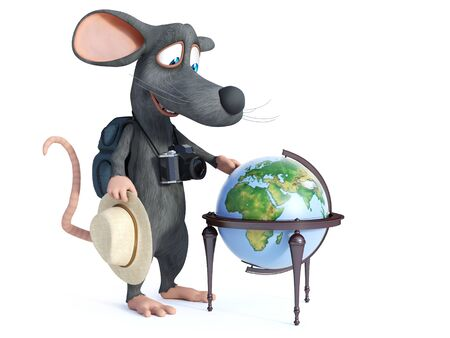 3D rendering of a cute smiling cartoon mouse with a hat, camera and backpack like a tourist.
