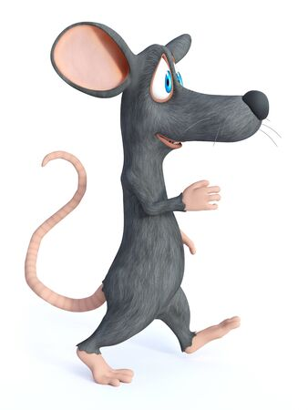 3D rendering of cute smiling cartoon mouse walking or marching