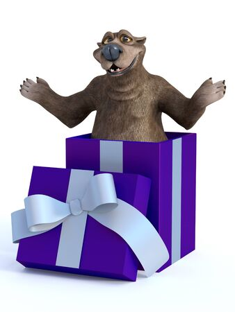 3D rendering of a charming cartoon bear popping out of a purple gift box ready to surprise. Stock Photo