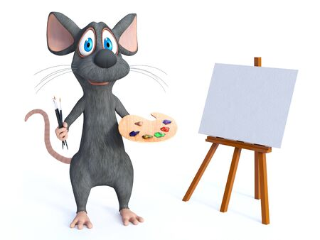 3D rendering of a cute smiling cartoon mouse standing in front of a blank canvas on an easel