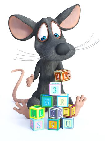 3D rendering of a cute cartoon mouse sitting on the floor and playing and building a tower with toy blocks.